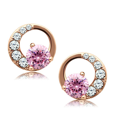 TK1498 - IP Rose Gold(Ion Plating) Stainless Steel Earrings with AAA Grade CZ  in Rose