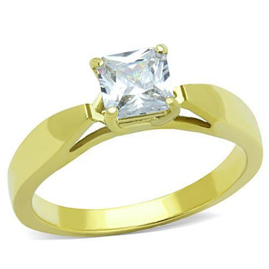 TK1511 - IP Gold(Ion Plating) Stainless Steel Ring with AAA Grade CZ  in Clear