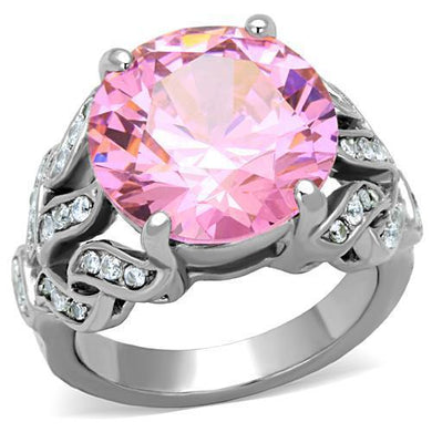 TK1512 - High polished (no plating) Stainless Steel Ring with AAA Grade CZ  in Rose