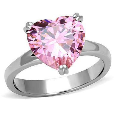 TK1513 - High polished (no plating) Stainless Steel Ring with AAA Grade CZ  in Rose