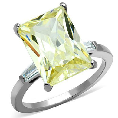 TK1514 - High polished (no plating) Stainless Steel Ring with AAA Grade CZ  in Citrine Yellow