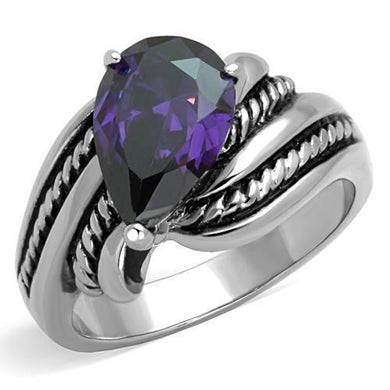 TK1515 - High polished (no plating) Stainless Steel Ring with AAA Grade CZ  in Amethyst