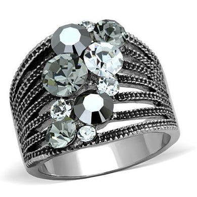 TK1521 - High polished (no plating) Stainless Steel Ring with Top Grade Crystal  in Black Diamond