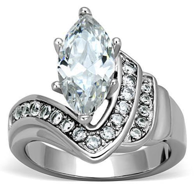 TK1526 - High polished (no plating) Stainless Steel Ring with AAA Grade CZ  in Clear