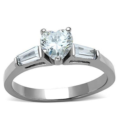 TK1541 - High polished (no plating) Stainless Steel Ring with AAA Grade CZ  in Clear