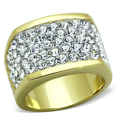 TK1545 - Two-Tone IP Gold (Ion Plating) Stainless Steel Ring with Top Grade Crystal  in Clear
