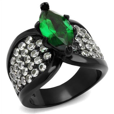 TK1548J - IP Black(Ion Plating) Stainless Steel Ring with Synthetic Synthetic Glass in Emerald