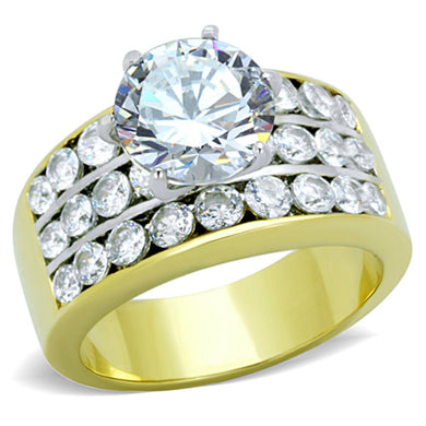 TK1553 - Two-Tone IP Gold (Ion Plating) Stainless Steel Ring with AAA Grade CZ  in Clear