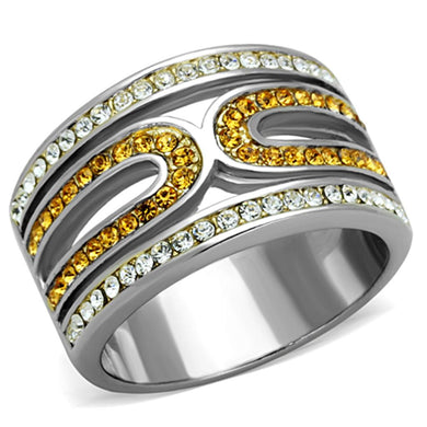 TK1555 - Two-Tone IP Gold (Ion Plating) Stainless Steel Ring with Top Grade Crystal  in Topaz