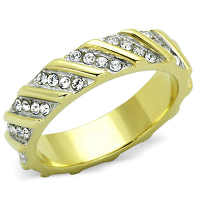 TK1557 - Two-Tone IP Gold (Ion Plating) Stainless Steel Ring with Top Grade Crystal  in Clear