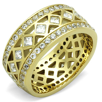 TK1558 - IP Gold(Ion Plating) Stainless Steel Ring with AAA Grade CZ  in Clear