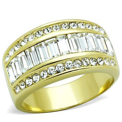TK1561 - IP Gold(Ion Plating) Stainless Steel Ring with Top Grade Crystal  in Clear
