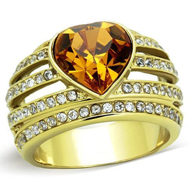 TK1563 - IP Gold(Ion Plating) Stainless Steel Ring with Top Grade Crystal  in Topaz