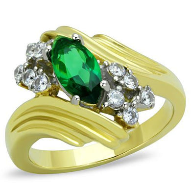 TK1566 - Two-Tone IP Gold (Ion Plating) Stainless Steel Ring with Synthetic Synthetic Glass in Emerald
