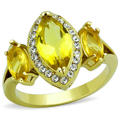 TK1578 - IP Gold(Ion Plating) Stainless Steel Ring with Synthetic Synthetic Glass in Topaz