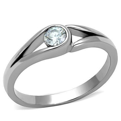 TK1581 - High polished (no plating) Stainless Steel Ring with AAA Grade CZ  in Clear