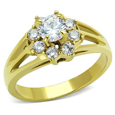 TK1583 - IP Gold(Ion Plating) Stainless Steel Ring with AAA Grade CZ  in Clear