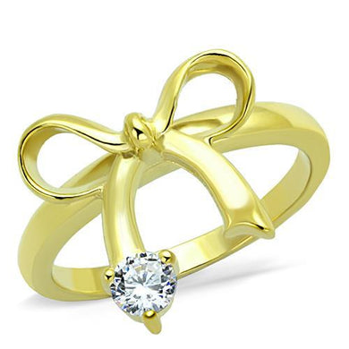 TK1585 - IP Gold(Ion Plating) Stainless Steel Ring with AAA Grade CZ  in Clear