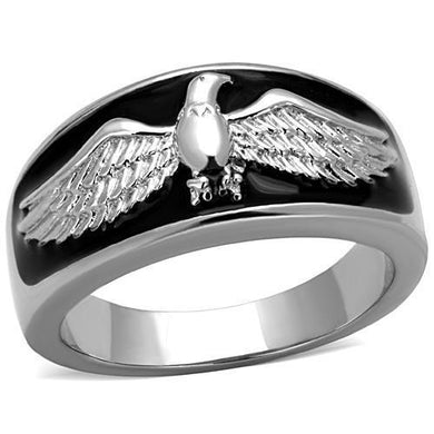 TK1597 - High polished (no plating) Stainless Steel Ring with Epoxy  in Jet