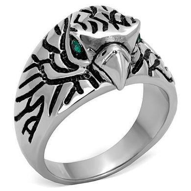 TK1600 - High polished (no plating) Stainless Steel Ring with Top Grade Crystal  in Emerald