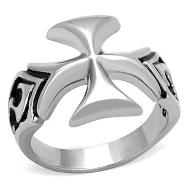 TK1602 - High polished (no plating) Stainless Steel Ring with Epoxy  in Jet