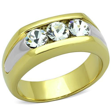 TK1615 - Two-Tone IP Gold (Ion Plating) Stainless Steel Ring with Top Grade Crystal  in Clear