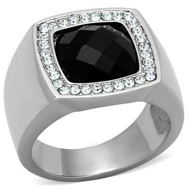 TK1616 - High polished (no plating) Stainless Steel Ring with Semi-Precious Onyx in Jet