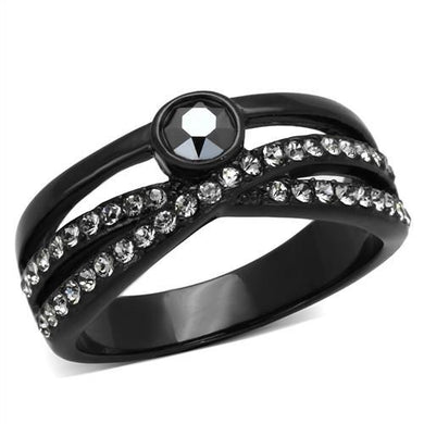 TK1620 - IP Black(Ion Plating) Stainless Steel Ring with Top Grade Crystal  in Hematite