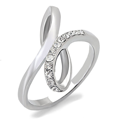 TK162 - High polished (no plating) Stainless Steel Ring with Top Grade Crystal  in Clear
