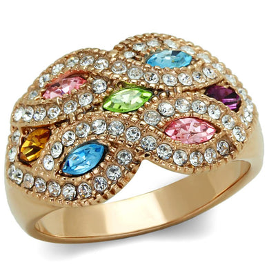 TK1632 - IP Rose Gold(Ion Plating) Stainless Steel Ring with Top Grade Crystal  in Multi Color