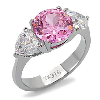 TK164 - High polished (no plating) Stainless Steel Ring with AAA Grade CZ  in Rose