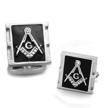 Load image into Gallery viewer, TK1650 - High polished (no plating) Stainless Steel Cufflink with Top Grade Crystal  in Clear