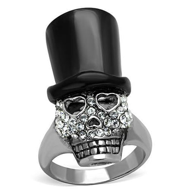 TK1662 - Two-Tone IP Black Stainless Steel Ring with Top Grade Crystal  in Clear