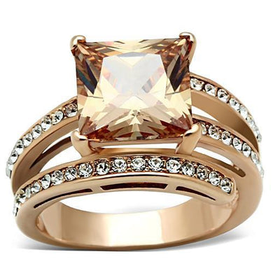TK1665 - IP Rose Gold(Ion Plating) Stainless Steel Ring with AAA Grade CZ  in Champagne
