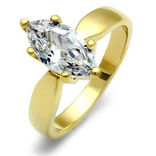 Load image into Gallery viewer, TK1673 - IP Gold(Ion Plating) Stainless Steel Ring with AAA Grade CZ  in Clear