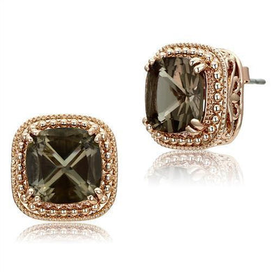 TK1674 - IP Rose Gold(Ion Plating) Stainless Steel Earrings with Genuine Stone  in Brown