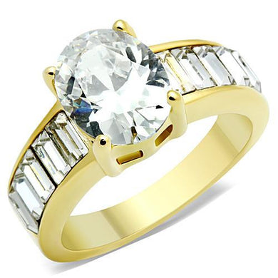TK1675 - IP Gold(Ion Plating) Stainless Steel Ring with AAA Grade CZ  in Clear