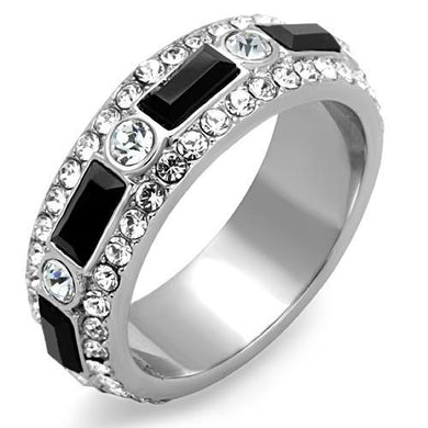 TK1677 - High polished (no plating) Stainless Steel Ring with Top Grade Crystal  in Jet