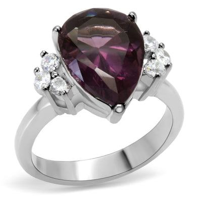TK167 - High polished (no plating) Stainless Steel Ring with Synthetic Synthetic Glass in Amethyst