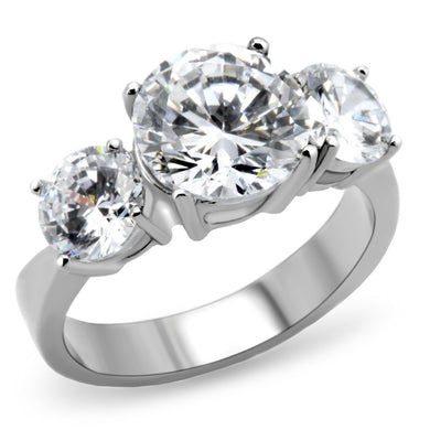 TK168 - High polished (no plating) Stainless Steel Ring with AAA Grade CZ  in Clear