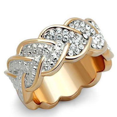 TK1691 - Two-Tone IP Rose Gold Stainless Steel Ring with Top Grade Crystal  in Clear