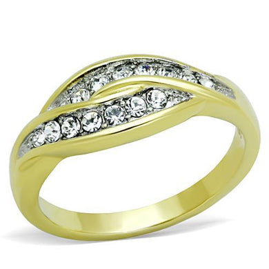 TK1704 - Two-Tone IP Gold (Ion Plating) Stainless Steel Ring with Top Grade Crystal  in Clear
