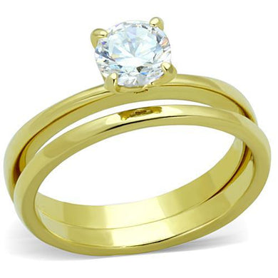 TK1721 - IP Gold(Ion Plating) Stainless Steel Ring with AAA Grade CZ  in Clear