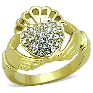 TK1724 - IP Gold(Ion Plating) Stainless Steel Ring with Top Grade Crystal  in Clear