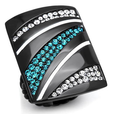 TK1736 - IP Black(Ion Plating) Stainless Steel Ring with Top Grade Crystal  in Blue Zircon