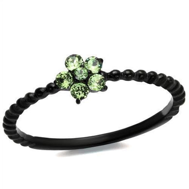 TK1739 - IP Black(Ion Plating) Stainless Steel Ring with Top Grade Crystal  in Peridot