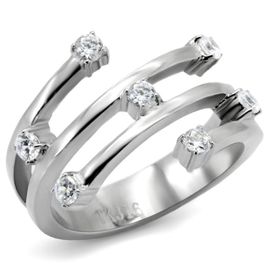 TK173 - High polished (no plating) Stainless Steel Ring with Top Grade Crystal  in Clear