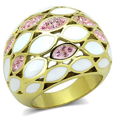 TK1742 - IP Gold(Ion Plating) Stainless Steel Ring with Top Grade Crystal  in Light Rose