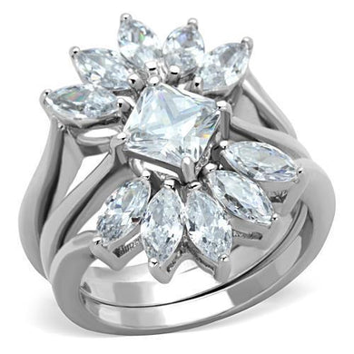 TK1756 - High polished (no plating) Stainless Steel Ring with AAA Grade CZ  in Clear