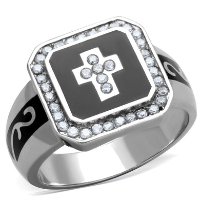 TK1766 - High polished (no plating) Stainless Steel Ring with AAA Grade CZ  in Clear